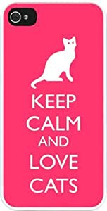 Rikki KnightTM Keep Calm and Love Cats Tropical Pink Color Design iPhone 5 & 5s Case Cover (White Rubber with bumper protection) for Apple iPhone 5 & 5s by supermalls