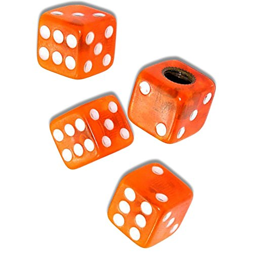 """(4 Count) """"Square Playing Dice Easy Grip Design"""" Valve Stem Dust Cap Seal Made of Hardened Rubber {Bright Ford Orange Color - Hard Metal Internal Threads for Easy Application - Rust Proof} by mySimple Products (Image #1)"""