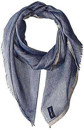 Calvin Klein womens A9WS5317 Linen Lurex Scarf Fashion Scarf - blue - One Size