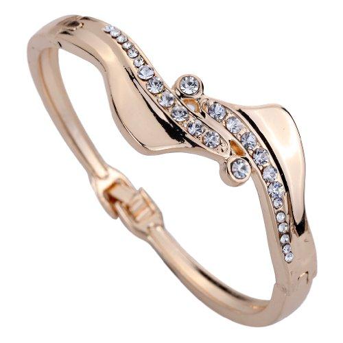YAZILIND Twisted Sparkling Rhinestone Bracelet