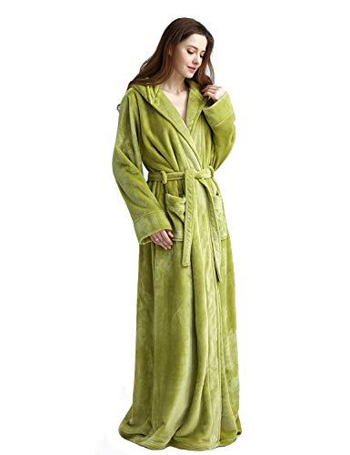 Womens Long Hooded Bathrobe Fleece Full Length Bathrobe with Hood Winter Sleepwear, Olive Green-XL ()