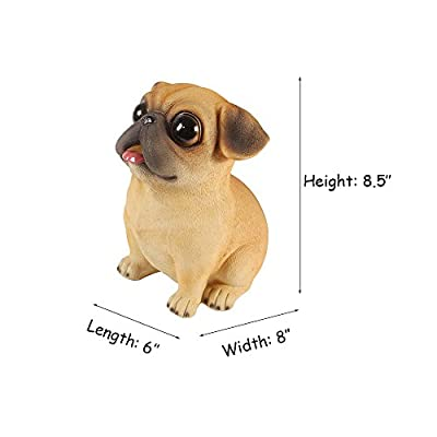 WAIT FLY Cute Pug Dog Shaped Resin Piggy Bank Coin Bank Best Gifts for Kids Home Decoration: Toys & Games