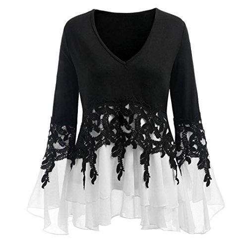 - Realdo Womens Applique Tops, Fashion Casual Lace Flowy Chiffon V-Neck Long Sleeve Blouse Tops (Black,X-Large)