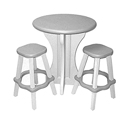 Leisure Accents Pub Set, 30 Inch Round With 2 Stools, Gray/Beige