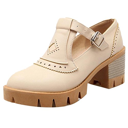 Coolcept Zapatos Moda de Tacon Ancho para Mujer Beige