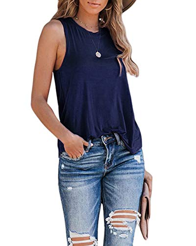 Eanklosco Womens Summer Sleeveless Trendy Basic Tank Tops Round Neck Casual Loose Tunic(Royal Blue,L)
