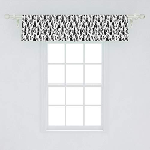 Ambesonne Jungle Leaves Window Valance, Slender Long Leaves Pattern Repetitive and Continuing Exotic Wildlife, Curtain Valance for Kitchen Bedroom Decor with Rod Pocket, 54