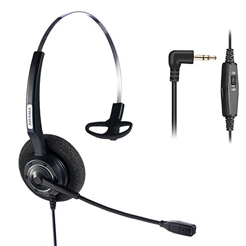 Arama 2.5mm Telephone Headset Mono with BOOM Mic Volume Mute for Cisco Linksys SPA Polycom Panasonic Zultys Gigaset Grandstream Office IP and Cordless Dect Phones (CTH-J25) by Arama