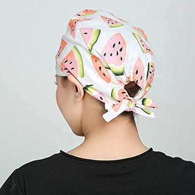 JANOU 2pcs Watermelon Printed Nurse Hats Sweat Absorbing Surgical Cap Elastic Strap Cotton Operating Room Doctor Work Cap: Clothing