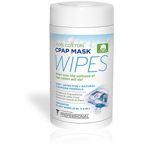 AWOW Professional Unscented Cotton CPAP Mask Cleaning Wipes, 62 count