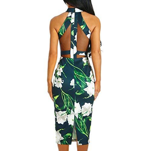 Abito Mini VestitoPolpqed Dress Corto Floreale Stampa Maniche Casuale Spiaggia Donna Senza Stampato Estiva Spalle Capestro Verde sQxBhrdtCo