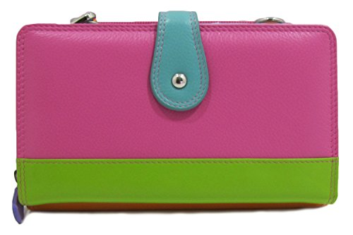 Ili Womens Ili Coloblocked Leather Crossbody Smartphone Wallet