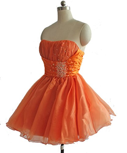 Edaier kurze Party Damen Wulstige Orange Heimkehrkleid Cocktail Kleid Mini rXSrxwq7