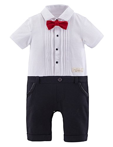 [Mombebe Baby Boys' Tuxedo Gentleman Romper Jumpsuit (12-18 Months, White)] (White Party Outfit Ideas)