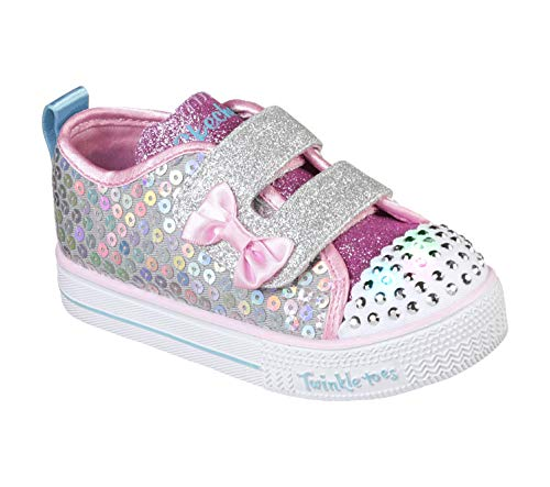 Skechers Kids Girls' Shuffle LITE-Mini Mermaid Sneaker, Silver/Multi, 7 Medium US Toddler