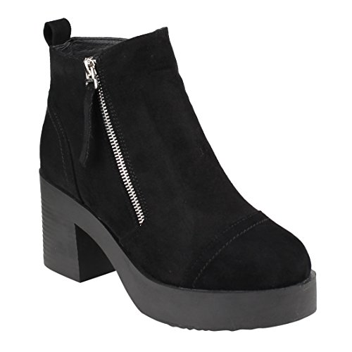 Beston FM45 Women's Side Zipper Platform Stacked Block Heel Ankle Booties, Color Black, Size:7.5 (Zipper Side Platform)