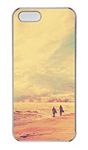 iPhone 5 5S Case Surfers Walking On The Beach At Sunset PC Custom iPhone 5 5S Case Cover Transparent