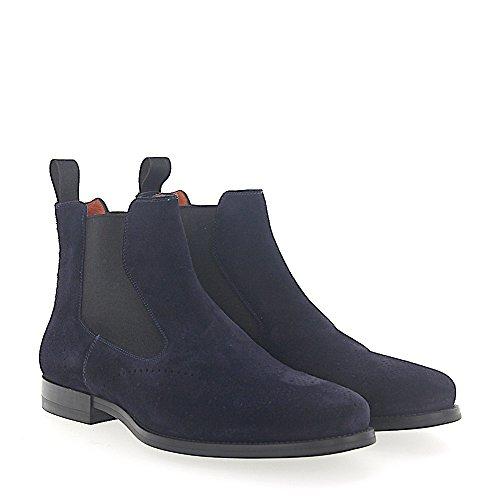 Santoni Chelsea Boots 15308 Suede Blauw Lyra-perforatie