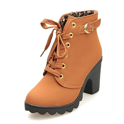 SNIDEL Ankle Boots for Women Chunky high Heels Work Winter Motorcycle Cowboy Martin Boots Fall Combat lace up Booties Platform Dress shoesYellow 7 B (M) US