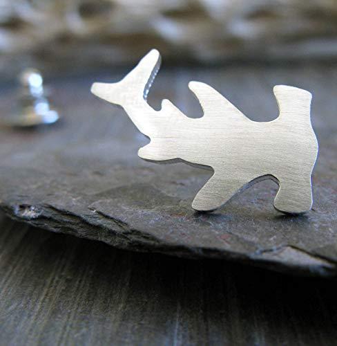 - Hammerhead Shark tie tack lapel hat brooch pin artisan handmade in sterling silver