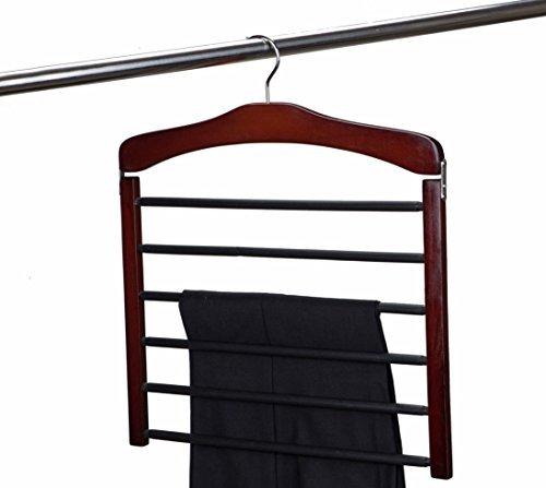 Amber Home Hardwood 6 Tier Swing Slack Pants Trouser Hanger Multi Slack Hanger Multi Pant Hanger with Chrome Hook,Cherry Color Pack of 1 -