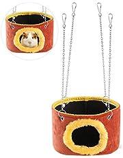 WINOMO Squirrel Chinchilla Guinea Pig Rat Small Animals Snuggle Hammock Hanging Snuggle Cave Hut - Size L (Random Color)