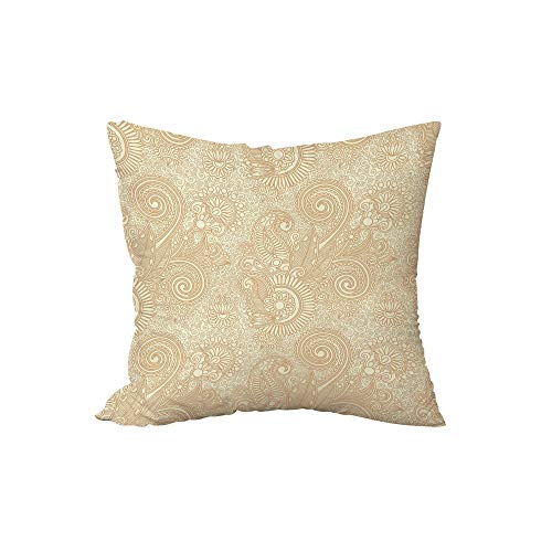 iPrint Polyester Throw Pillow Cushion,Henna,Retro Nature Revival Pattern with Lotus Mandala Inspired Elements Spirals Curls Decorative,Pale Brown Ivory,15.7x15.7Inches,for Sofa Bedroom Car Decorate