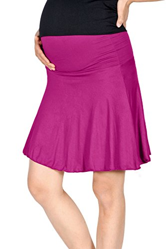 ternity Fold Over Flared Knee Length Skirt (M, Violet Pink) (Maternity Stretch Skirt)