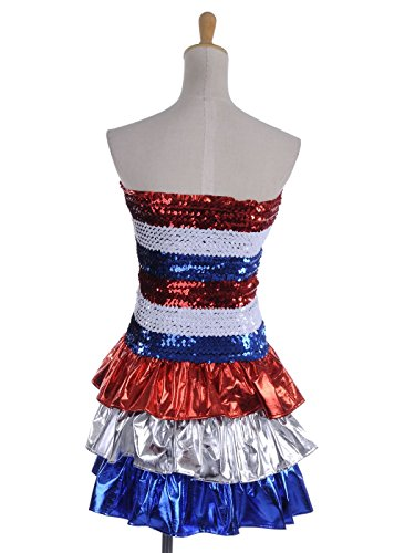 Anna-Kaci S/M Fit Multicoloured Red, White & Blue Stripe Sequined Ruffle Dress