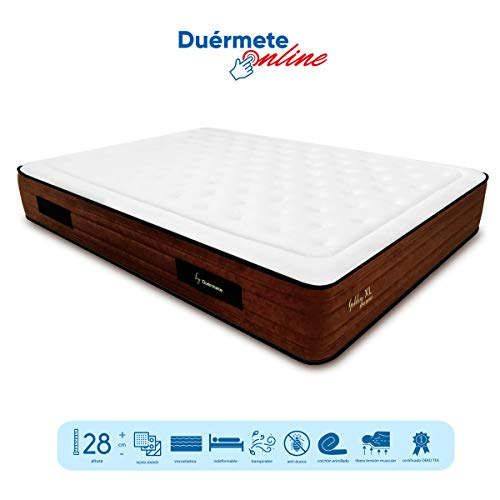 Duérmete Golden Dreams XL Colchón Viscoelástico con Visco Gel y Carbón Activo de 150 x 200 x 28 cm – Firmeza Media…