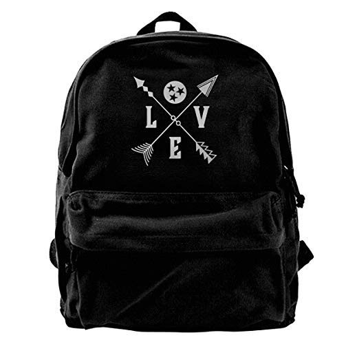 - HHFASN Tennessee Tristar Love Arrows Canvas Backpack for Men Women Lightweight Travel Backpack Cute Shoulder Bags Laptop Backpack