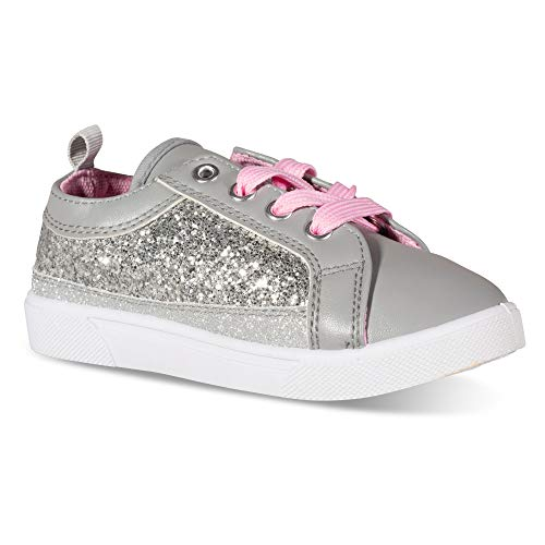 Chillipop High/Low Top Glitter Sneakers for Girls Tennis Shoes Silver ()