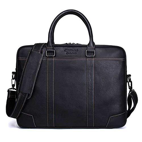 MUMUWU Men's Business Briefcase Leather Shoulder Bag Casual Handbag Travel Bag (Color : Black, Size : L) by MUMUWU (Image #1)