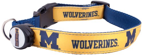 Dog-E-Glow University of Michigan Wolverines Lighted LED Dog Collar, Medium, 10-Inch by 15-Inch, My Pet Supplies
