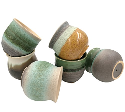 ROSE CREATE 6 Pcs 3.0 Inches Mini Ceramic Succulent Plant Pots, Thumb Flower Pots for Small Plants and Decorative Objects - Pack of 6