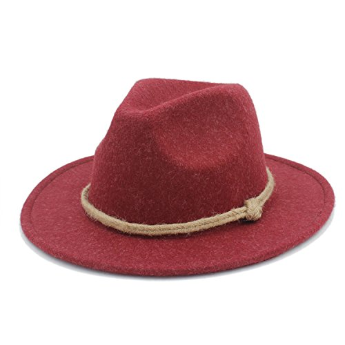 Douhuayu Retro Wool Wide Brim Fedora Hat for Laday Cashmere Jazz Church Cap Panama Sombrero Top Hat Hemp Rope 20 (Color : 3, Size : 57-58CM) by Douhuayu