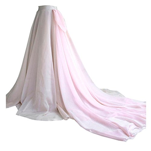 WDPL Women's Maxi Train Draped Layered Bridal Chiffon Skirt (Nude Pink, X-Large)