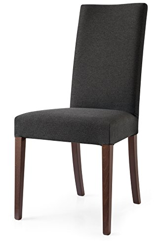 O&G Copenhagen Upholstered Dining Chair with Wenge Frame, Smoke Grey (Calligaris Chair Upholstered)