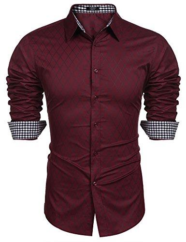Burlady Herren Hemd Langarm Slim Fit Diamant-Gitter Karohemd Kariert Langarmhemd Freizeit Business Party Shirt für Männer