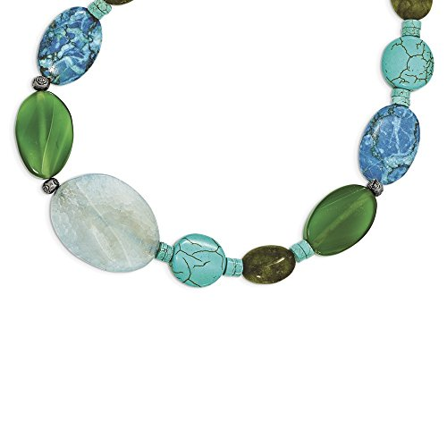 Sterling Silver Fancy Lobster Closure Blue and Green Agate Jasper Howlite Simulated Turquoise Necklace - 16 Inch