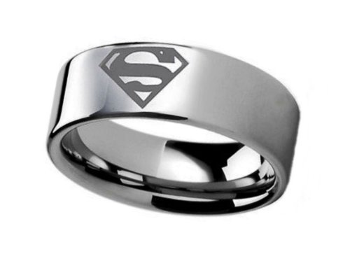DC's SUPERMAN Logo Stainless Steel BAND RING - Men's Size 6