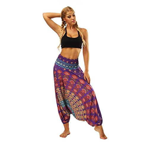 (Clearance! Womens Gypsy Hippie Boho Baggy Loose Fit Elastic Casual Jumpsuit Harem Pants (Purple, Free Size))