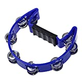 SODIAL(R) Tambourine Blue Hand Held with Double Row Metal Jingles Percussion Church Band