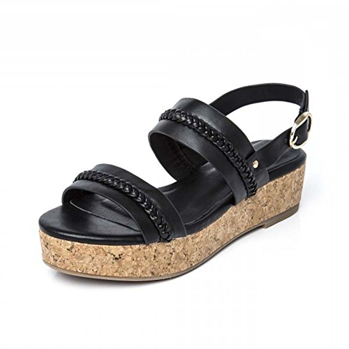 Chic Feet Ladies New Summer Strappy Low Flatform Wedge Sandals in Black, White Or Pink Black