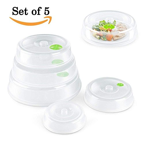 Set of 5 Microwave Plate Cover/Dish Covers - Mixed Sizes -Dishwasher Safe, prevent food splatter cover, hover Magnetic suction function and safe convenient with steam vent by Highland Farms Select