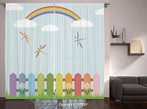 Thermal Insulated Blackout Window Curtain [ Dragonfly,Colorful Dragonflies Drifting over Fences on a Sunny Rainbow Day Kids Nursery Theme,Multi ] for Living Room Bedroom Dorm Room Classroom Kitchen Ca