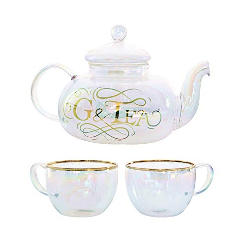 - Luxury Gin and Tonic Gift Set, Rainbow Tinted Borosilicate Glass Teapot with Glasses, 28oz G&Tea Infuser with Filter Basket, Add Flavour To Your Gin - For Cocktails or Loose Leaf Tea by Root7