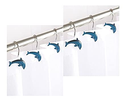 MrCaller Dolphin Shower Curtain Hooks Fish Set OF 12 Pcs Bath Porpoise Mainstrem By Aqualona UK Amazoncouk Kitchen Home