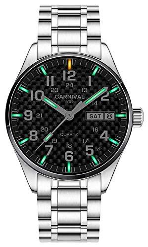 - Luxury Outdoor Sports Watch for Men Luminous Military Dive Waterproof Mens Analog Quartz Watch (Carbon Fiber Dial - Green Light)