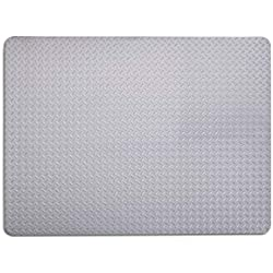 Reslia - Anti-Stain Grill and Garage Protective Mat - Decorative Embossed Diamond Plate Pattern - Silver, (3 Feet x 4 Feet)